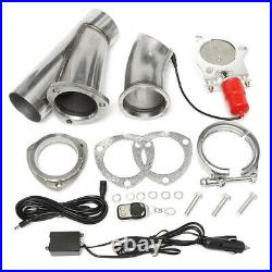 2X 3'' 76mm Electric Exhaust Valve E-CUT Downpipe System Remote Cutout Y Pipe