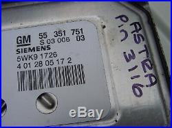 Vauxhall Astra Ecu Set 55351751 + Pin Code Opel 5wk9 1726 Z18xe 16 Valve Ecm Kit